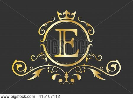 Golden Stylized Letter E Of The Latin Alphabet. Monogram Template With Ornament And Crown For Design