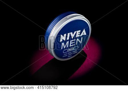 """TORONTO, CANADA"""" February 23, 2021: Nivea, 100 years old is a German personal care brand that specializes in body-care. It is owned by the Hamburg-based company."""