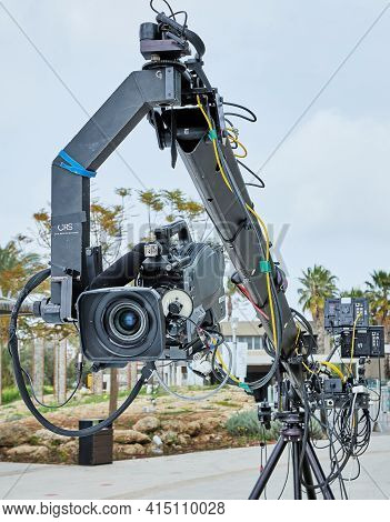 Professional Equipment For Filming Tv Shows And Films. Video Camera On Special Crane.