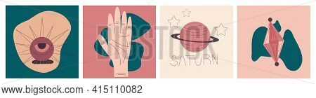 Modern Boho Palmistry Cover For Conceptual Design. Flat Abstract Design. Minimal Flat Linear Style.