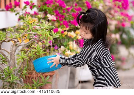 Cute Asian Girl Holds Bowl With Water Inside, Watering Tree Of Front House. Child Take Care Of Small