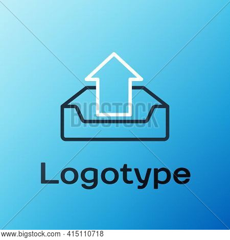 Line Upload Inbox Icon Isolated On Blue Background. Colorful Outline Concept. Vector Illustration