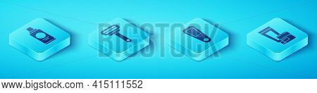 Set Isometric Bottle Of Shampoo, Shaving Razor, Cream Or Lotion Cosmetic Tube And Hand Mirror Icon.