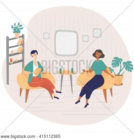 Interview Show. Interviewer Asks Young Woman Questions. Two Women Sit On Chairs And Talk. Tv Show. H