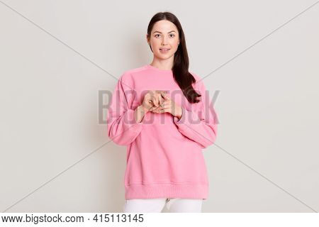 Attractive Adorable Young Girlfriend With Dark Straight Hair And Soft Healthy Skin, Dressed In Casua