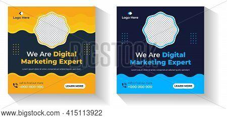 Digital Marketing Social Media Post Banner Template, Digital Marketing Agency Post Banner, Digital M