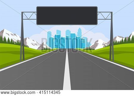 Highway Road. Empty Road With City Skyline On Horizon And Nature Landscape. Road To City With Inform