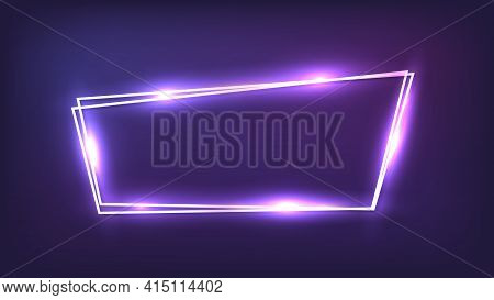Neon Double Frame With Shining Effects On Dark Background. Empty Glowing Techno Backdrop. Vector Ill