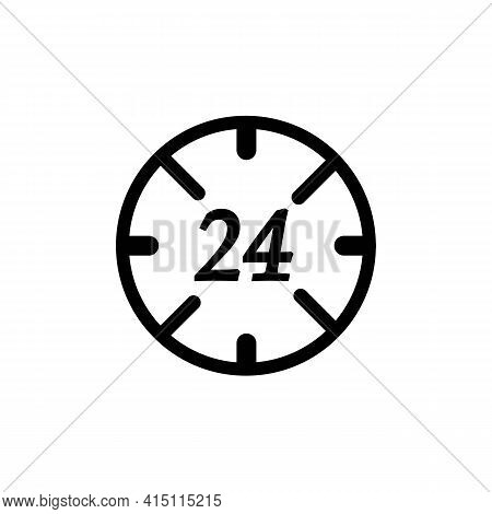 24 Hours Service Thin Line Icon In Black. Around The Clock Work Concept. 24h Logotype. Trendy Flat I