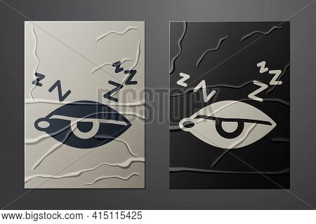 White Insomnia Icon Isolated On Crumpled Paper Background. Sleep Disorder With Capillaries And Pupil
