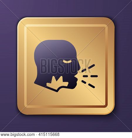 Purple Man Coughing Icon Isolated On Purple Background. Viral Infection, Influenza, Flu, Cold Sympto