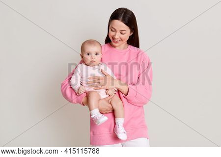 Mother Posing With Baby Girl, Happy Family Having Fun Indoor, Cheerful Sweet Kid With Mommy, Mom And