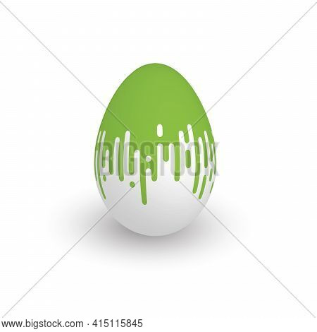 Easter Egg With Green Dripping Paint. 3d Isolated Realistic Vector Object With Dropped Shadow.