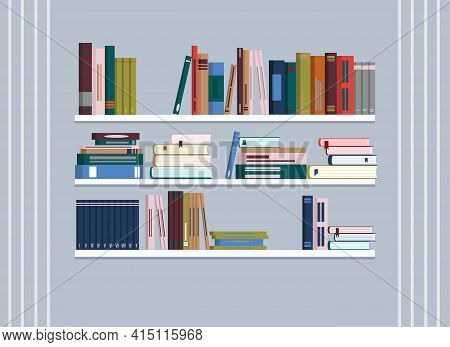 In The Room, There Are Bookshelves With Lots Of Books On A Gray Wall. Vector Drawing