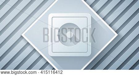 Paper Cut Billiard Chalk Icon Isolated On Grey Background. Chalk Block For Billiard Cue. Paper Art S