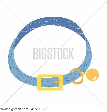 Collar With A Bell For Cat. Neck Belt. Accessory For Pets. Animal Care Item Isolated On White Backgr