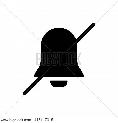 Silent Mode Or Notification Bell Solid Black Line Icon. Trendy Flat Style Isolated Symbol, Can Be Us