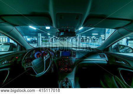 Garage Interior. Car Lot Parking Space In Underground City Garage. Empty Road Asphalt Background. La