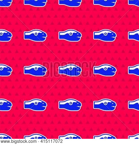 Blue Snake Icon Isolated Seamless Pattern On Red Background. Vector