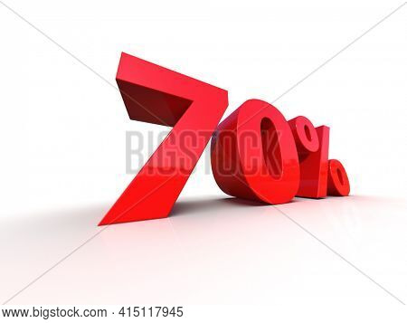 3D Illustration:70Percent Interest Rate Sign, Red 70% Percent Discount 3d Icon on White Background, Special Offer 70% Discount Tag, Sale Up to 70 Percent Off, Seventy % Letters Sale Symbol