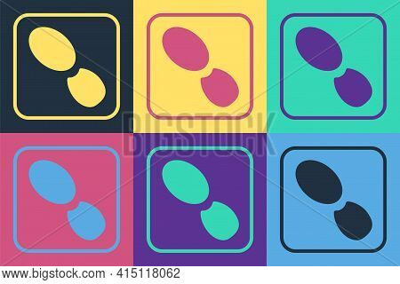 Pop Art Human Footprints Shoes Icon Isolated On Color Background. Shoes Sole. Vector