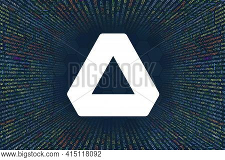 Achain, Act Cryptocurrency Symbol. A Tunnel From A Computer Program Code. Programmer Strings Of Code