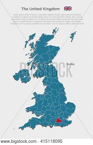 Map United Kingdom Divide And Region Surrey
