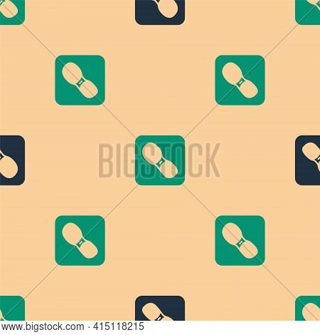 Green And Black Human Footprints Shoes Icon Isolated Seamless Pattern On Beige Background. Shoes Sol