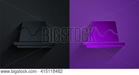 Paper Cut Pudding Custard With Caramel Glaze Icon Isolated On Black On Purple Background. Paper Art