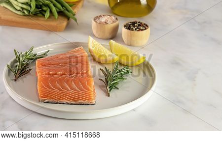 Fresh Raw Atlantic Salmon. Great Source Of Omega-3 Fatty Acids And Protein. Keto Diet, Healthy Food.