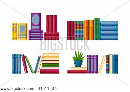 Shelves With Study Books. Set For Bookstore Shelves In Cartoon Style. Vector Illustration On White B