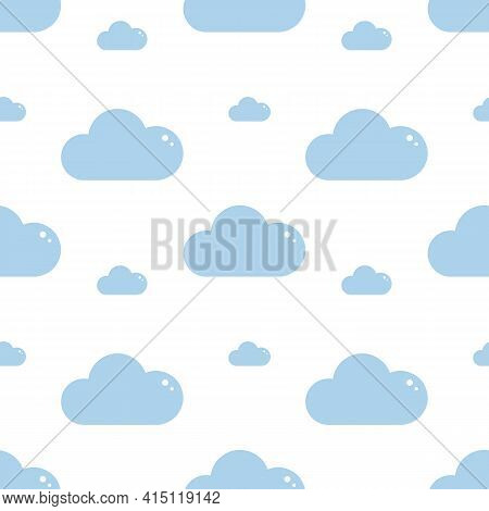 Blue Clouds, Day Time Sky Vector Cartoon Style Seamless Pattern Background.