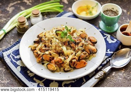Appetizing And Very Tasty Fried Mussels With Onions - This Is A Great Addition To Any Side Dish. Esp