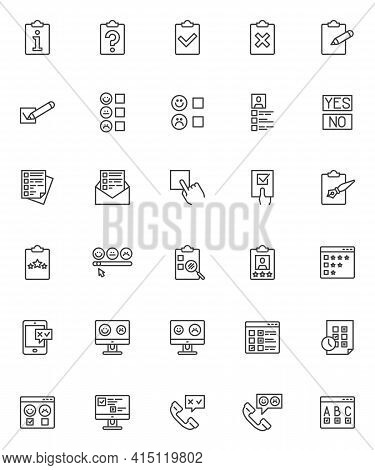 Survey, Questionnaire Line Icons Set. Feedback Linear Style Symbols Collection, Outline Signs Pack.