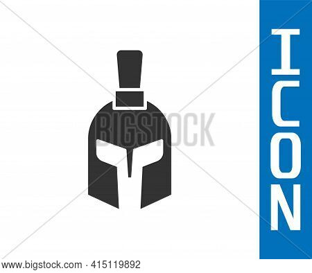 Grey Greek Helmet Icon Isolated On White Background. Antiques Helmet For Head Protection Soldiers Wi