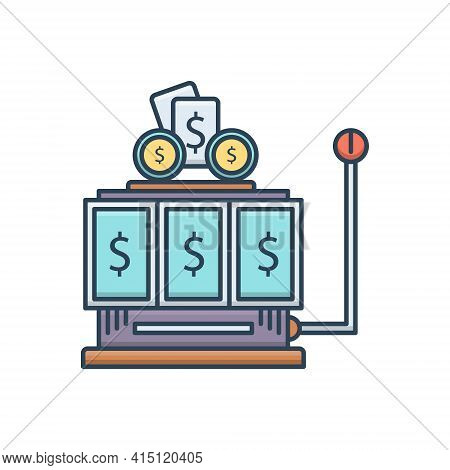 Color Illustration Icon For Gambling  Gamble  Casino  Cash Machine