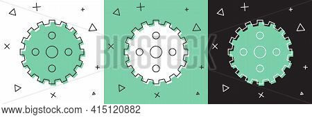Set Bicycle Sprocket Crank Icon Isolated On White And Green, Black Background. Vector