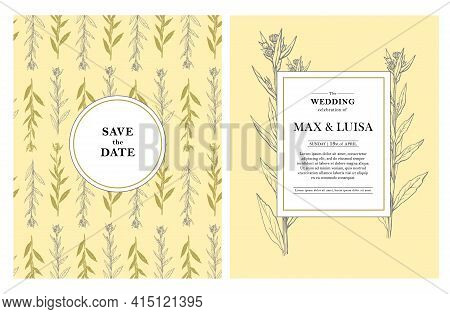 Vintage Wedding Set With Botanical. Wedding Invitation, Save The Date, Reception Card. Wedding Conce