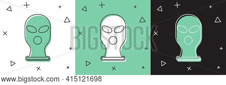 Set Balaclava Icon Isolated On White And Green, Black Background. A Piece Of Clothing For Winter Spo