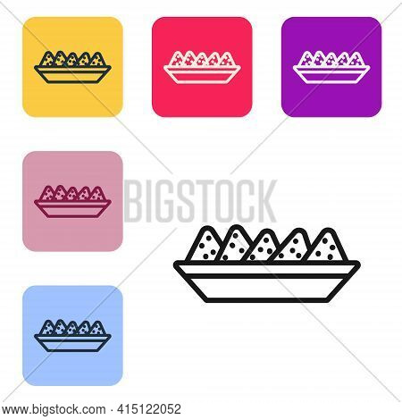 Black Line Nachos In Plate Icon Isolated On White Background. Tortilla Chips Or Nachos Tortillas. Tr