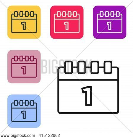 Black Line Calendar With First September Date Icon Isolated On White Background. September 1. Date A