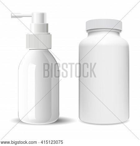 Supplement Pill Bottle. Throat Spray Medical Bottle. Sprayer Container Illustration. Pharmaceutical