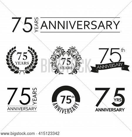 75 Years Anniversary Icon Set. 75th Anniversary Celebration Logo. Design Elements For Birthday, Invi