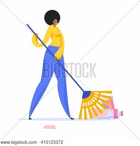 Cleaning Lady Sweeping Garbage In Park Illustration. Female Character In Yellow Sweater And Blue Pan