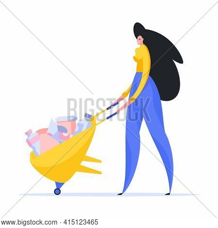 Woman Driving Wheelbarrow With Rubbish Illustration. Smiling Female Character In Yellow Shirt And Bl