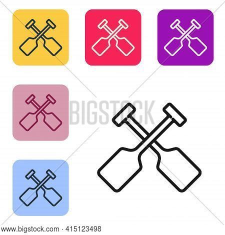 Black Line Paddle Icon Isolated On White Background. Paddle Boat Oars. Set Icons In Color Square But