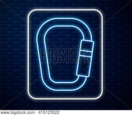 Glowing Neon Line Carabiner Icon Isolated On Brick Wall Background. Extreme Sport. Sport Equipment.