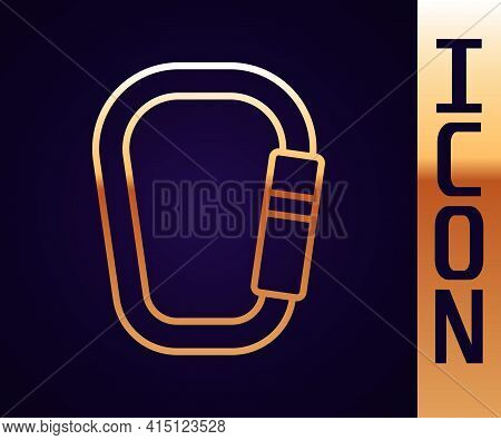 Gold Line Carabiner Icon Isolated On Black Background. Extreme Sport. Sport Equipment. Vector