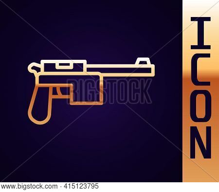 Gold Line Mauser Gun Icon Isolated On Black Background. Mauser C96 Is A Semi-automatic Pistol. Vecto