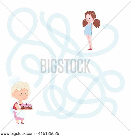 Cute Cartoon Granny Maze Game. Labyrinth. Funny Game For Children Education. Vector Illustration